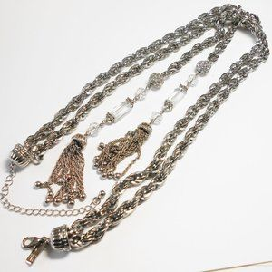 INC Silver Tone Chain & Crystal Tassel Necklace